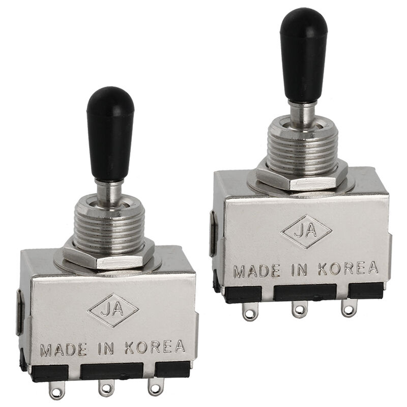 2 x guitar pickup selector switch 3 way box toggle black tip
