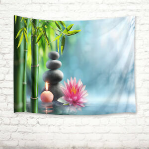 Lotus Flower Tapestry Spa Theme Rocks Print Wall Hanging Decor