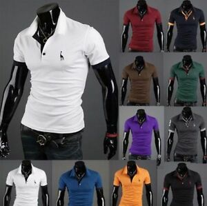 Mens-Slim-Fit-Stylish-POLO-Shirt-Short-Sleeve-Casual-T-shirt-Tee-Tops-M-L-XL-XXL
