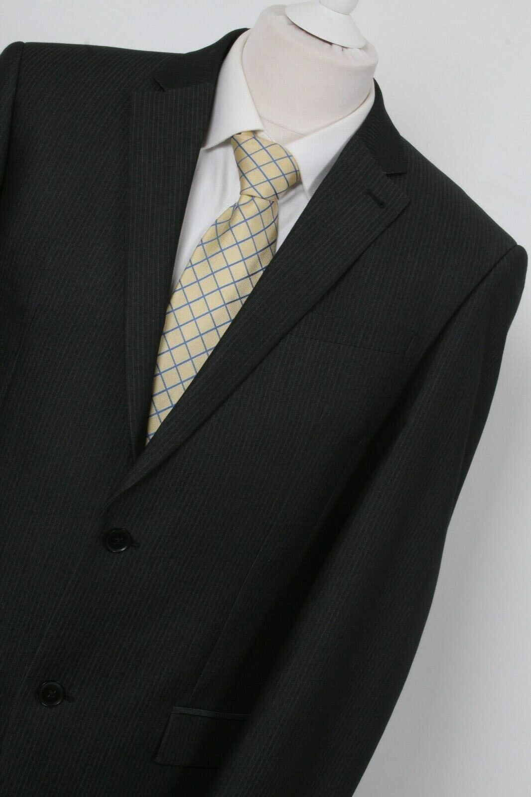 NEXT GREY PINSTRIPE RRP  Single Breasted Suit Blazer Wool Mix 40 Long 50