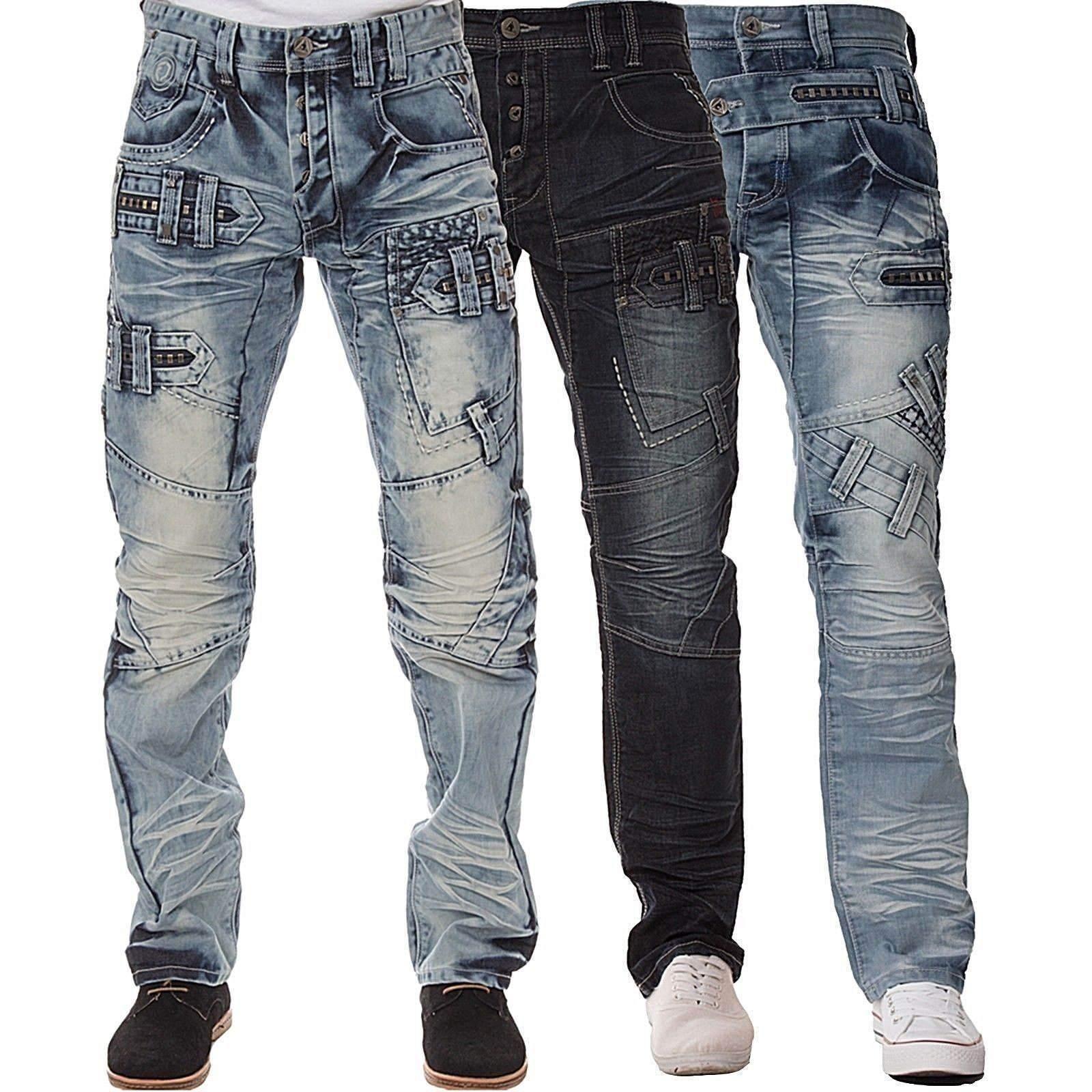 Nuovo Eto men Gamba Dritta Jeans Vestibilità Classica di Marca Design blue