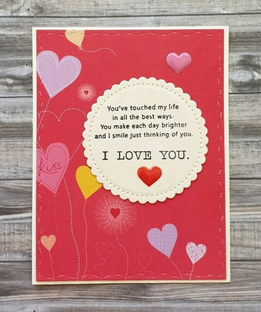 Handmade Valentine's Day Card Love Verse I Love You Happy Valentines Day Hearts