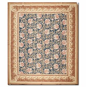 8-2-x-10-1-Hand-Woven-French-Needlepoint-Aubusson-100-Wool-Area-Rug-Blue