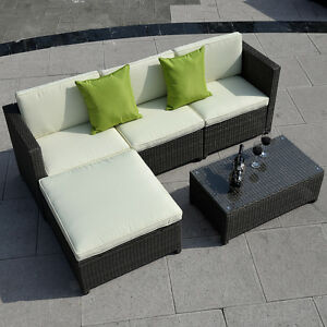5PC-Brown-Outdoor-Patio-Sofa-Set-Sectional-Furniture-PE-Wicker-Rattan-Deck-Couch