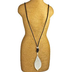 Lagenlook-silver-colour-leaf-pendant-black-leather-long-necklace