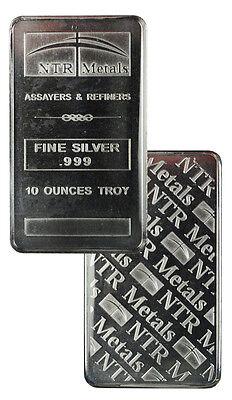 NTR Metals 10 Troy Oz .999 Fine Silver Bar - MADE IN USA SKU27741