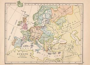 VICTORIAN HISTORICAL MAP EUROPE DURING Th CENTURY CASTILE - Victorian world map