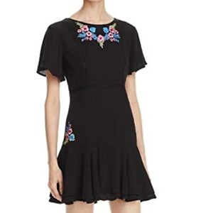 Rahi Cali Womens Black Floral Embroidered Short Sleeve Mini Dress Size Small