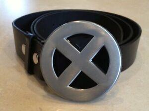 FREE BELT Silver /& Black wolverine deadpool Cosplay gambit X-MEN logo Buckle