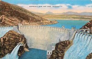 Linen-Postcard-AZ-K194-Roosevelt-Dam-and-Lake-Arizona-Nice-Color-Kropp-Unposted