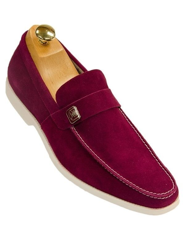 Stacy Adams Caspian Mens Cranberry Wine Suede Slip On Dress Casual Loafer shoes