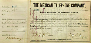 Mexican Telephone and Telegraph Company > 1882 stock certificate
