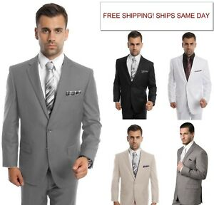 a37e9c6366 Men's Modern Fit Suit Two Button Solid Formal Two Piece Jacket ...