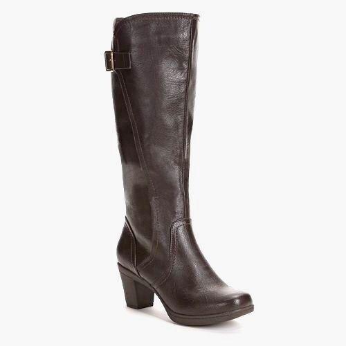 Women CROFT & BARROW Wide Calf Tall Boot Knee High Chunky Heel BROWN sz 5.5