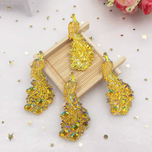 5pcs AB resin Peacock Gem Flatback Rhinestone wedding DIY 2 hole Ornament crafts