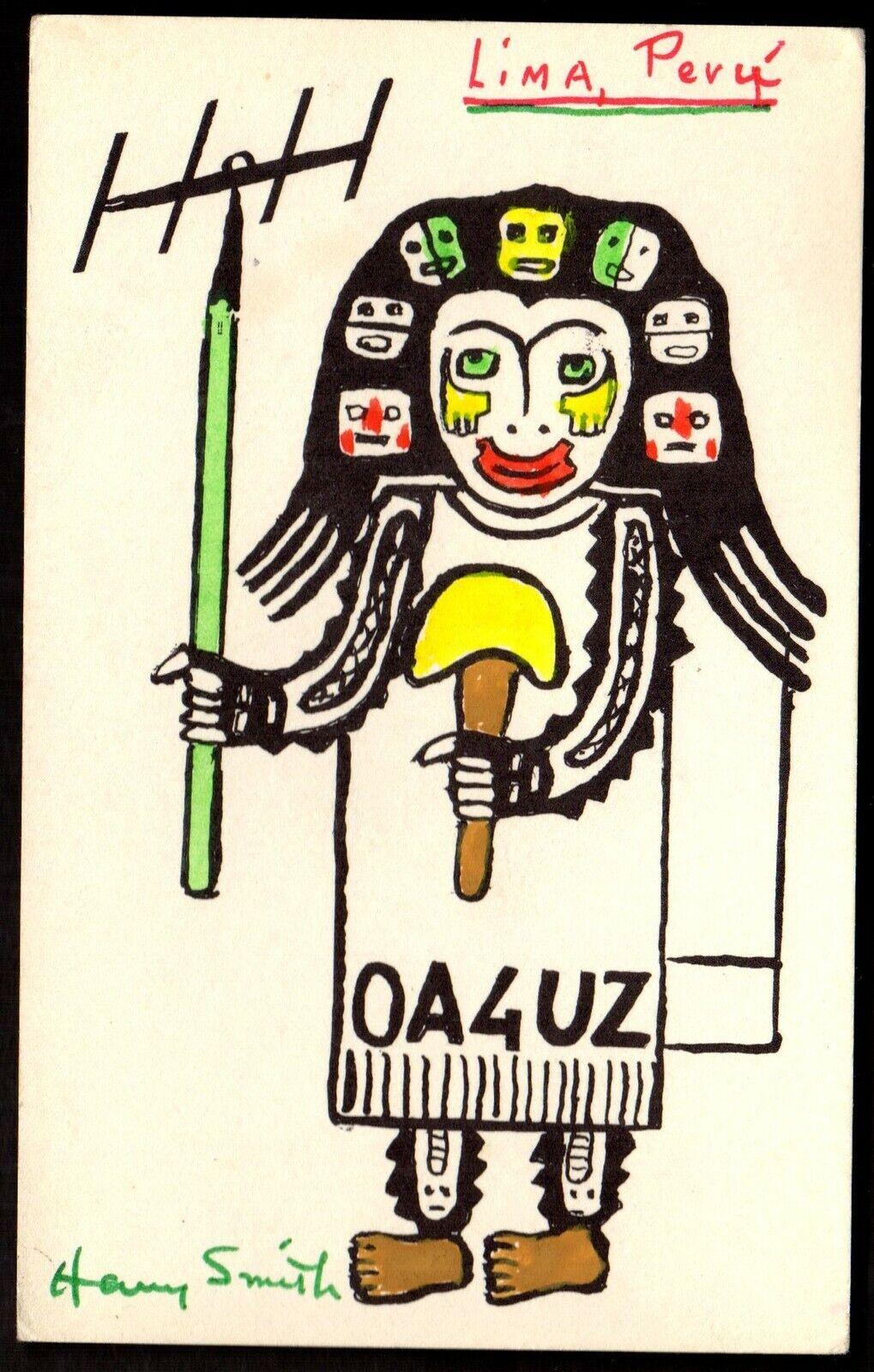 QSL QSO Radio Card Lima,Peru,OA4UZ,Pic of Native With Antenna, (Q3347)