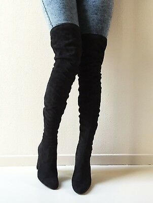 RRP £120 NEW STEVE MADDEN BLAZIN NAVY VELVET OVER THE KNEE BOOTS UK SIZE 7