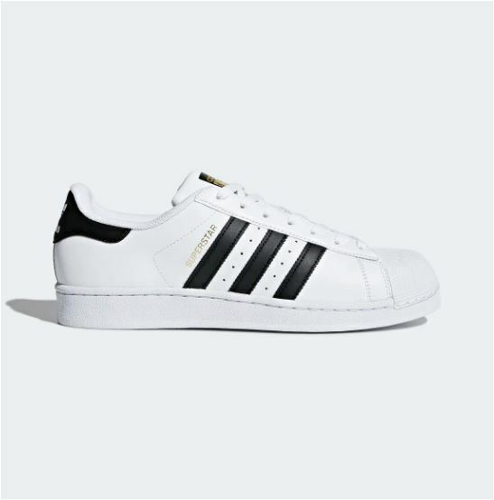 adidas Superstar Mens C77124 White Black Gold Shell Toe Shoes SNEAKERS Size  9.5