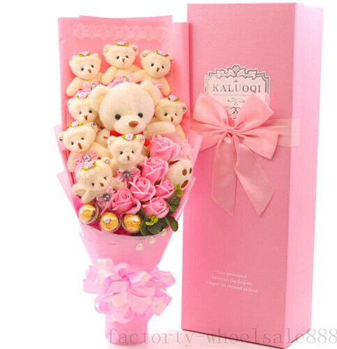 HOT Teddy bear plush Toy Doll flower sweet Birthday Creative Graduation Gift 9pc