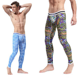 Men's Soft Long Johns Pants Thermal Pants Cotton Pattern Printed ...