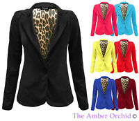 NEW LADIES ONE BUTTON FRONT LEOPARD LINING SMART BLAZER WOMENS PONTE JACKET 8-14