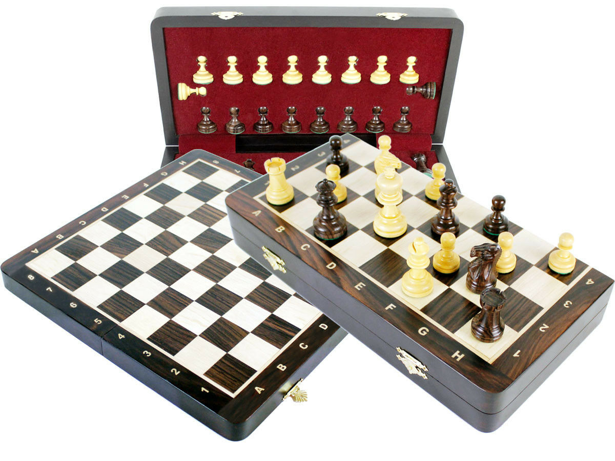 pinkwood chess set 2.5  +Folding board 13  +extra queens, pawns +inlaid notation