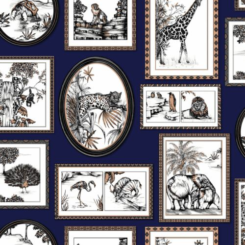 HOLDEN 90072 ELEPHANT LION COPPER SAFARI FRAMES WALLPAPER NAVY