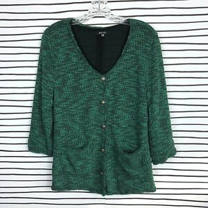 Details about Stitch Fix 41Hawthorn Sweater Jacket Cardigan Top Green Button Down 34 Sleeve M