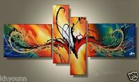 MODERN ABSTRACT HUGE WALL DECOR OIL PAINTING ON ART CANVAS 4PC(no framed)