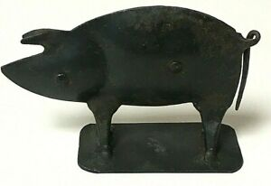 Vintage-Handmade-Folk-Art-Primitive-Metal-Pig-Figurine-Decorative-Art-Door-Stop