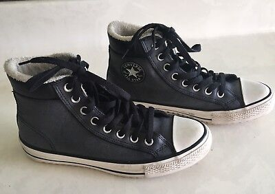 Converse Chuck Taylor Leather Faux Fur Lined Hi-Top Blue Sneaker Men 7 Women 9 | eBay