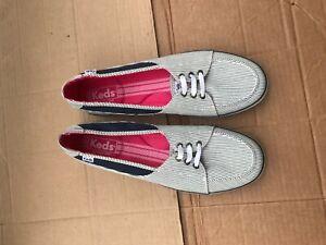 BLACK STRIPE Canvas Boat Shoes Sz 9.5M