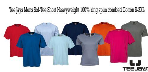 Tee Jays Mens Sof-Tee Short Heavyweight 100/% ring spun combed Cotton S-3XL