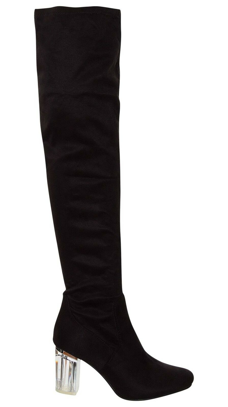 Womens Thigh High Over the Knee Party Boots Stretch Block Mid Size Perspex Heel