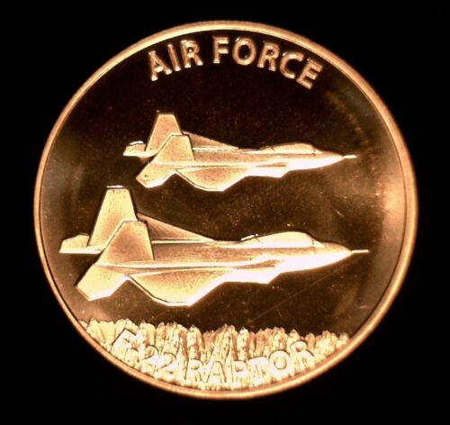 #94 Two F-22 Raptor Fighter Jets 1 oz Copper Round United States Air Force