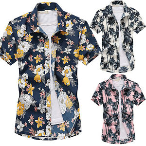 Mens-Hawaiian-Summer-Floral-Printed-Beach-Short-Sleeve-Casual-Shirt-Tops-Blouse
