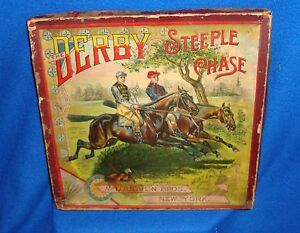 Vintage-McLoughlin-Bros-Original-Game-of-The-Derby-Steeple-Chase-Complete