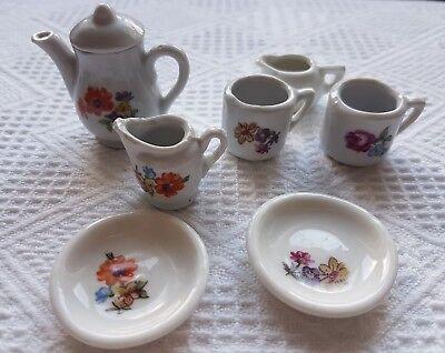 Casa Delle Bambole Tè Set ~ 6 Pezzi (più Una Brocca Bianca) ~ Vintage ~ Floreale-mostra Il Titolo Originale Bello E Affascinante