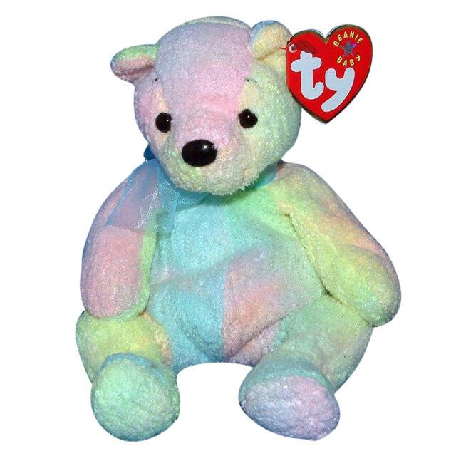 Retired Ty Beanie Babies Mellow The Bear December 7th 2000 Baby Pastel  Rainbow 5e5f80898ec
