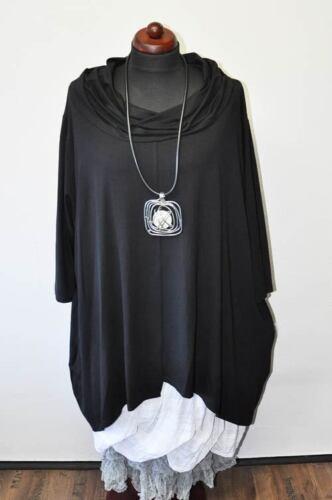 Collar Carmen Maglia Asimmetrica T nera Xxl shirt A xxxl lunghezze 2 Lagenlook line AqtAw1Ux