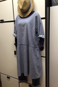 Veritecoeur Jacket Linen Cotton Utility Blue Kimono Housecoat BRBrx