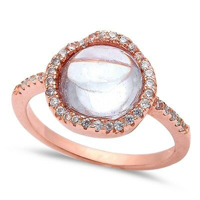 Rose Gold Plated White Cabochon Cubic Zirconia.925 Sterling Silver Ring 5-10