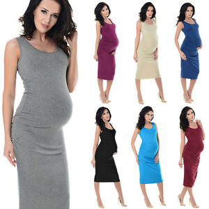 1781582a5e Image is loading Purpless-Sleeveless-Jersey-Ruched-Pregnancy-Maternity-Midi- Dress-