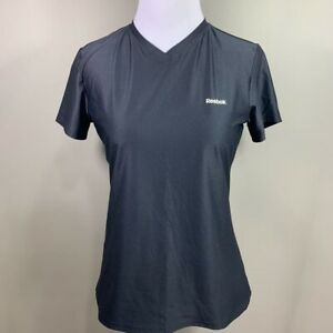 Reebok-Play-Dry-Womens-Top-Black-V-Neck-Short-Sleeve-Athletic-Tee-Activewear-M