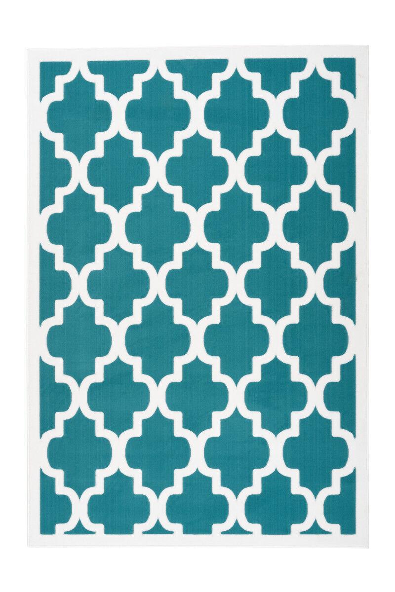 Scandic Tapis Flachflor Arabesque Tapis Rétro Nordic Turquoise