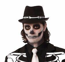 Cappello Fedora Scheletro Ossa Halloween Giorno dei Morti Men's Fancy Dress