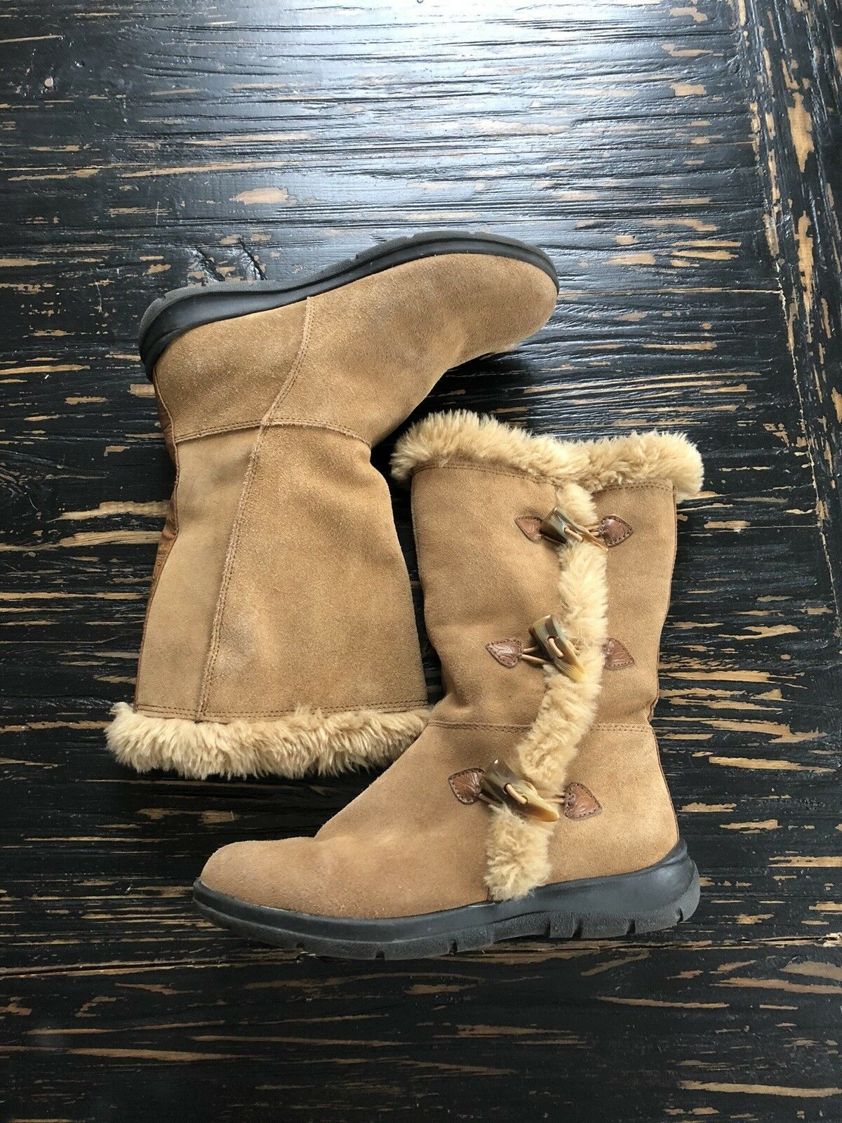 White Mountain Brown Suede W  Toggle Closure Faux Fur Lined Boots Sz 7
