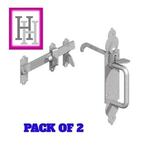 2-X-Galvanised-Gothic-Suffolk-Latch-Traditional-Gate-Thumb-Catch-External-D1