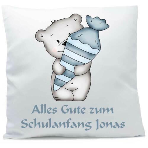 Kissen mit Namen Bär Schultüte blau 40x40 cm inkl Füllung Kuschelkissen