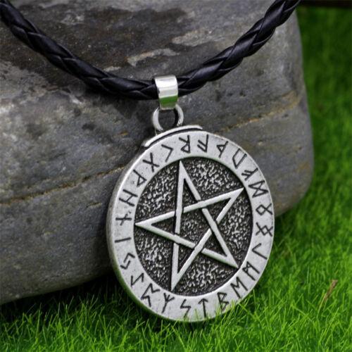 Para HOMBRE GÓTICO AMULETO eslavo Star Runa Colgante De Plata Collar Nórdica Vikingo